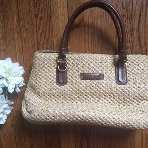 Rosetti Tan Wicker Straw Handbag
